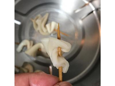 杏鮑菇對折再旋轉串好